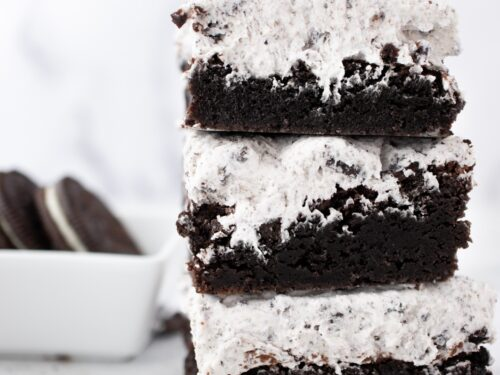 Oreo Brownies, Cookies and Cream Brownies stacked