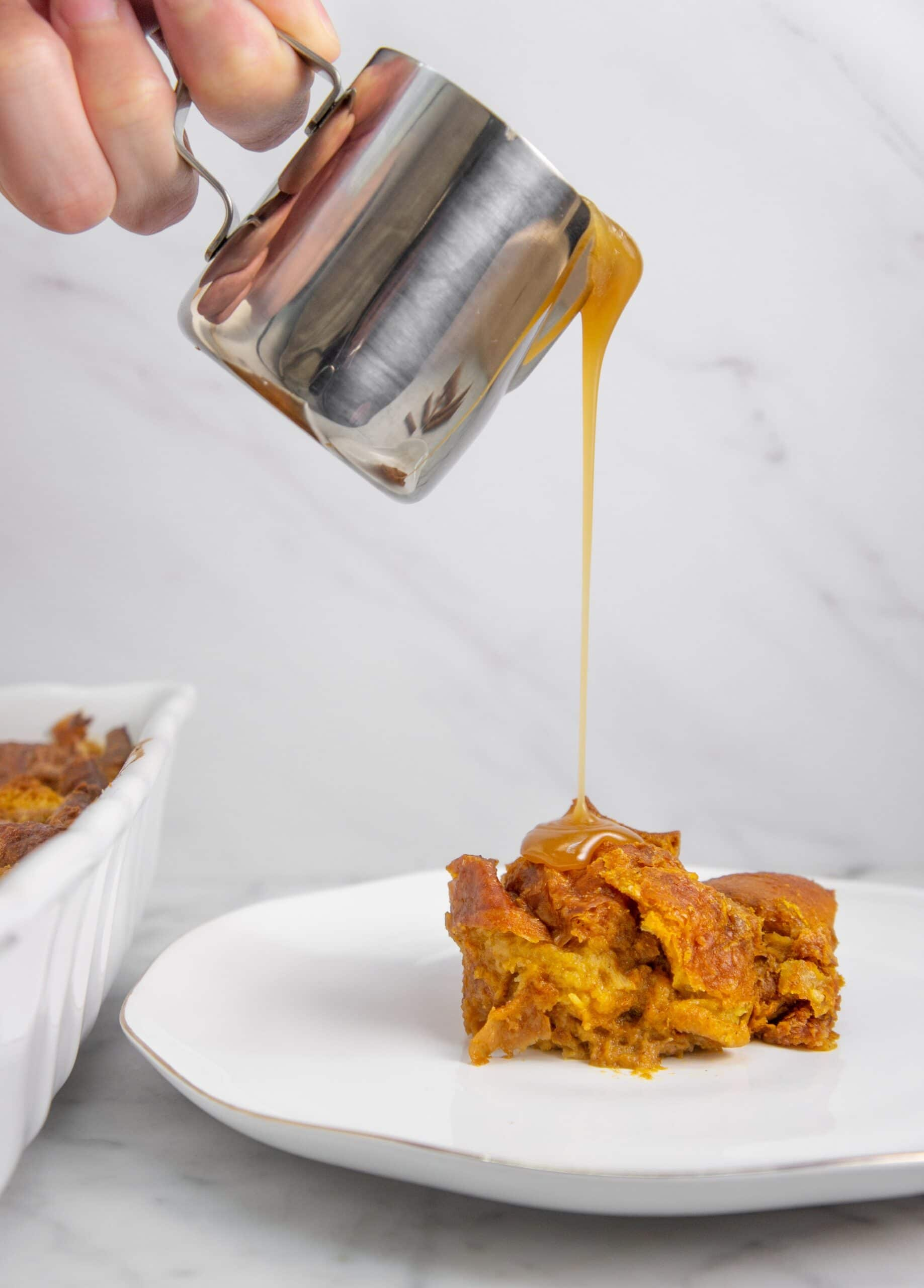 Pumpkin bread pudding with maple caramel sauce